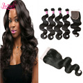 3Pcs Malaysian Body Wave With Closure Unprocessed Human Hair Weave  Cheap 7A Malaysian Virgin Hair Body Wave With Lace Closure