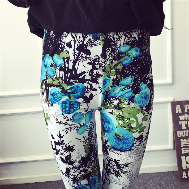 BIVIGAOS Spring Summer Womens Fashion Black Milk Thin Stretch leggings Colored Stars Graffiti Slim Skinny Leggings Pants Female 76