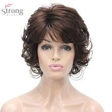 قوي الجمال النساء شعر مستعار اصطناعي كابليس قصيرة مجعد الشعر شقراء/أسود الباروكات الطبيعية