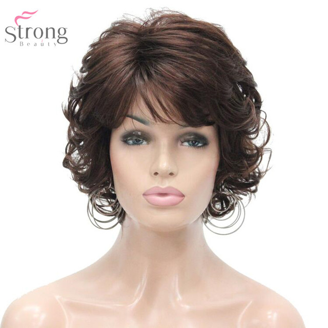 Strongbeauty 여성 합성 가발 capless 짧은 곱슬 머리 금발/검은 자연 가발