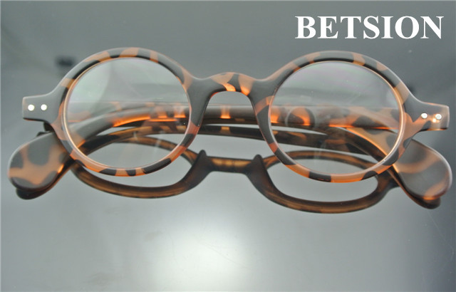 BETSION Vintage Retro Round Amber Tortoise Eyeglass Frame Spectacles Eyewear Rx able