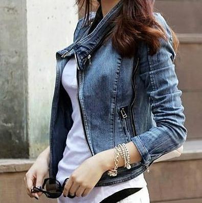 Новых женщин способа Дамы повседневная Blu джинсовый жакет полупальто плюс размер xl Бесплатная доставка