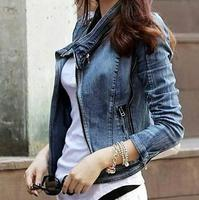 New fashion Women's Ladies casual Blu denim jacket short Coat plus size xl Free shipping