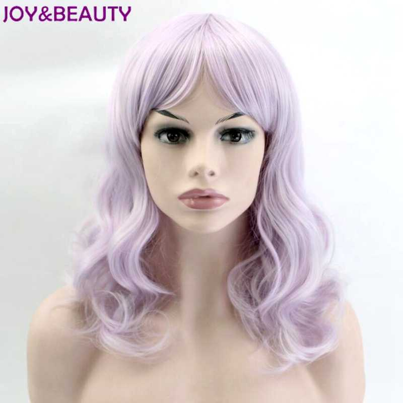 JOY&BEAUTY Silver Purple Colors Short Wavy Wig Synthetic Hair 16inches High Temperature Fiber Women Wig Free Shipping