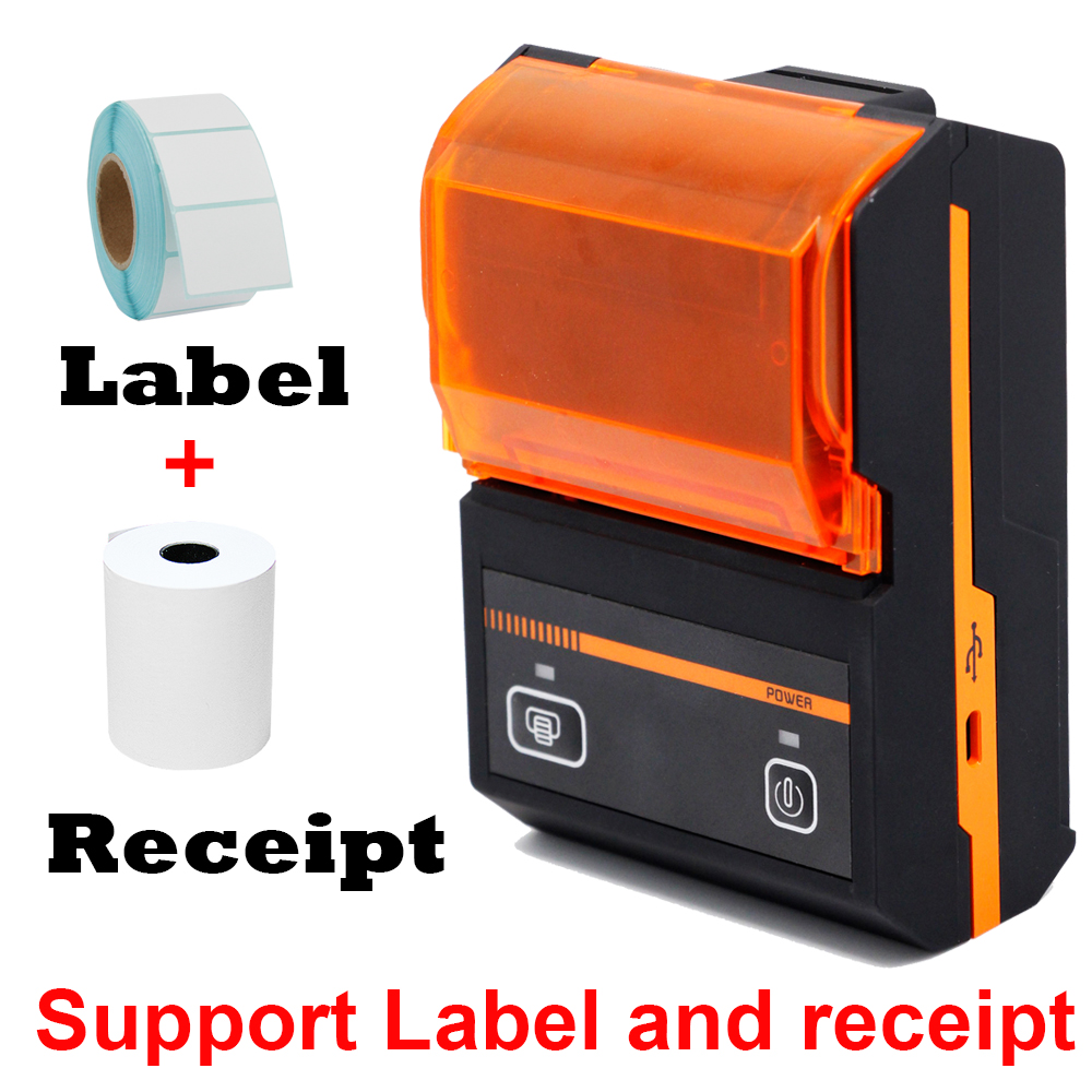 M58a 58mm 2 inch bluetooth barcode label sticker printer and thermal receipt printer 2 in 1 printing