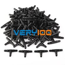 100pcs Irrigation Ploy Tee Pipe Barb Hose Fitting Joiner Drip System