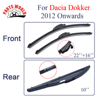 Kit Silicone Rubber Front And Rear Wiper Blades For Dacia Dokker 2012 Onwards Windscreen Wipers Car