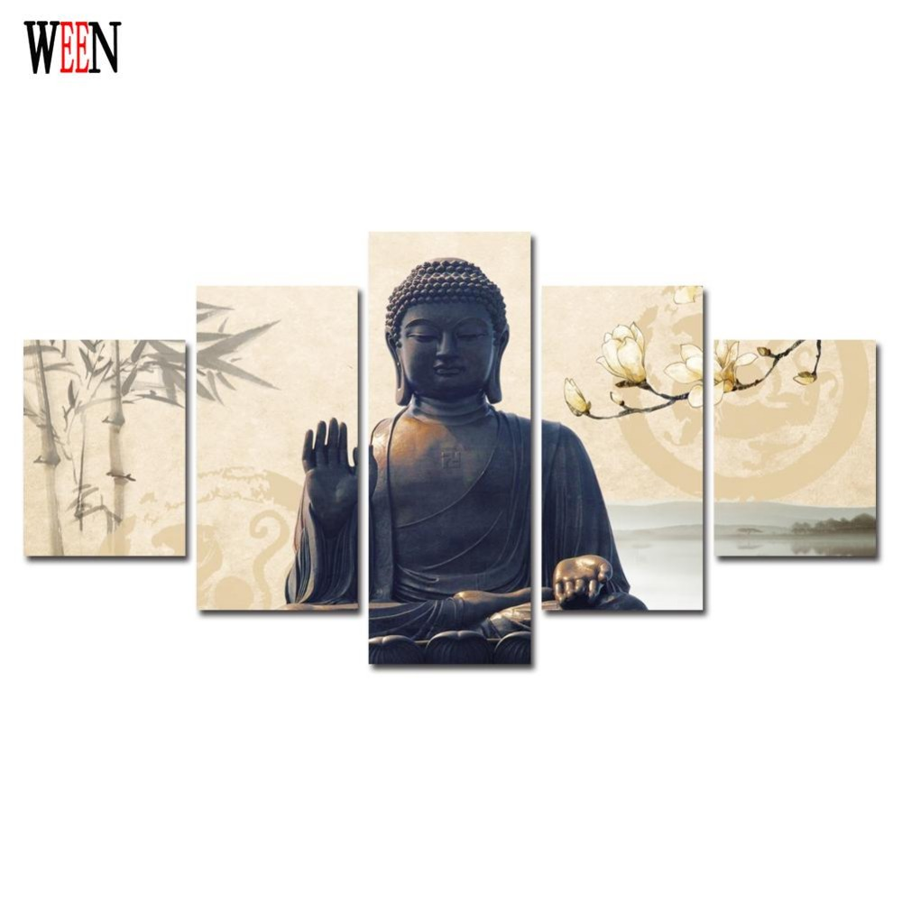 5 Piece Buddha Canvas Art With Framed Directly Handed Wall Pictures ...