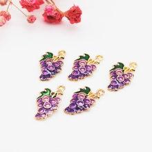20 unidades/pacote 9*17mm moda uva fruta esmalte encantos liga pingente apto pulseira brinco diy moda jóias acessórios