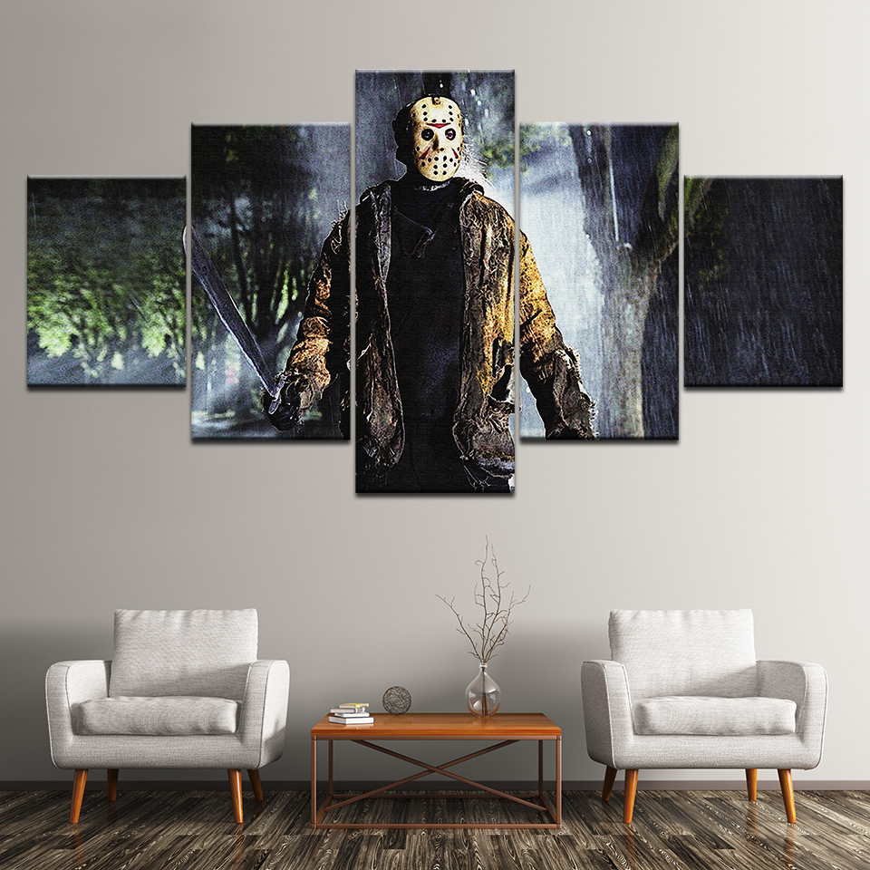 5 panel large HD printed oil painting Friday The 13th canvas art print modern home decor wall art pictures for living room