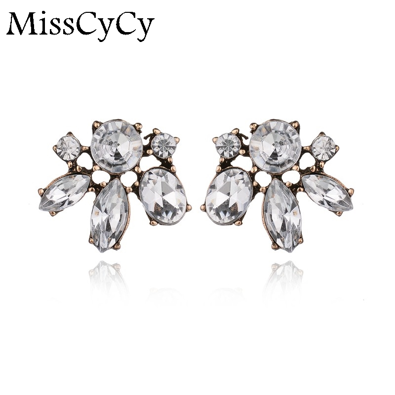 MissCyCy Vintage Flowers Small Earrings For Girls Geometric White Crystal Stud Earrings Women Gift