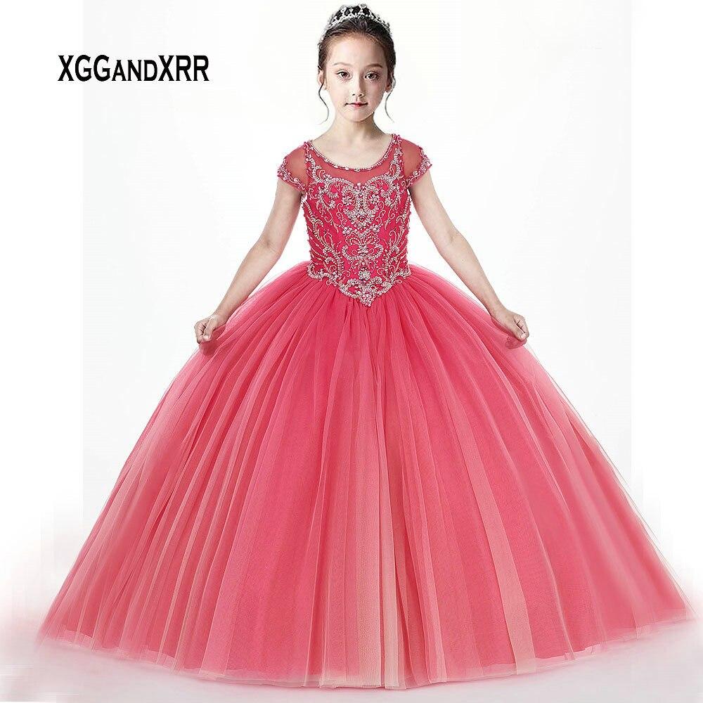 Luxury   Flower     Girl     Dress   2019 Scoop Cap Sleeves Crystal Little Princess Ball Gown Kids First Communion   Dresses   For   Girls