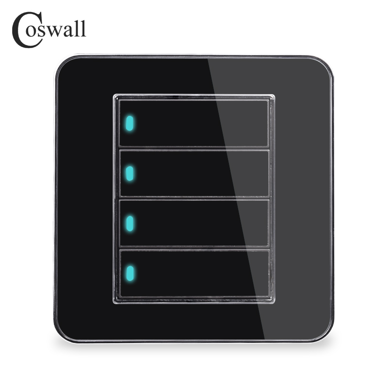 Coswall Brand New Arrival 4 Gang 1 Way Random Click On / Off Wall Light Switch With LED Indicator Acrylic Crystal PanelCoswall Brand New Arrival 4 Gang 1 Way Random Click On / Off Wall Light Switch With LED Indicator Acrylic Crystal Panel