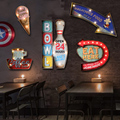 Free Shipping Loft American Retro Iron Mural LED Lamp Wall Cafe Bar Home Furnishing Decor Tin Painting Personality Decorations