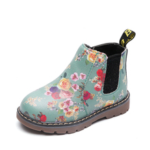 Kids Ankle Boots Girls Boys Floral Flower Print Chelsea Boots Girls Autumn Martin Boots Children Winter Shoes size 21-36