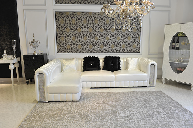 Royal Furniture Living Room Classic Genuine Leather Sofa With Corner 2  Pieces B6(China (