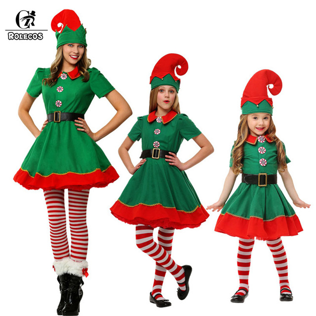 Rolecos Brand New Women Christmas Halloween Costume Long Sleeve Green and Red Girl Elf Dress Christmas  sc 1 st  AliExpress.com & Rolecos Brand New Women Christmas Halloween Costume Long Sleeve ...