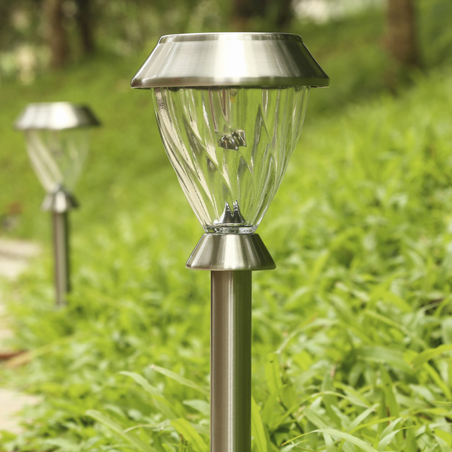 Merveilleux 2PCS Solar Lamp Outdoor LED Solar Lawn Lamp Garden Lights Landscape Path  Stake Stainless Steel Solar