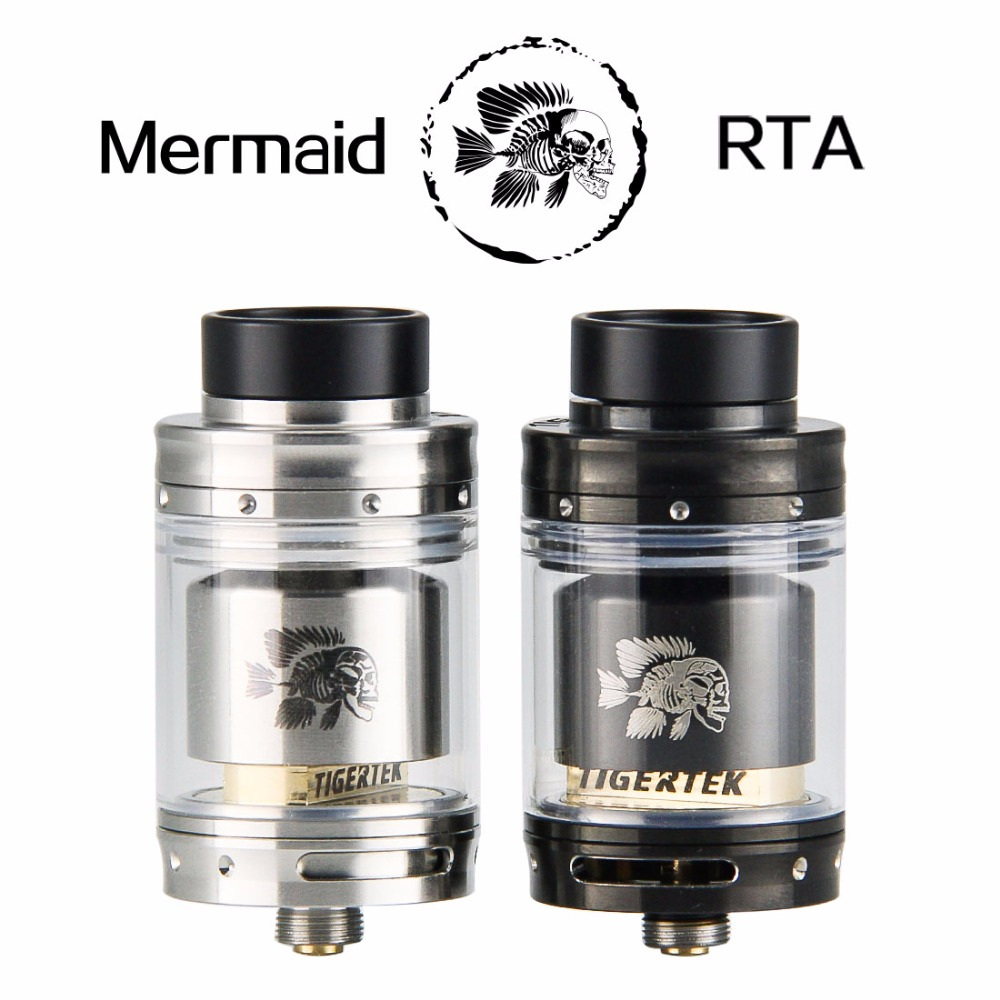 origial Tigertek Mermaid RTA tank electronic cigarette atomizer vape tank 24mm RDTA Rebuildable atomizer ...