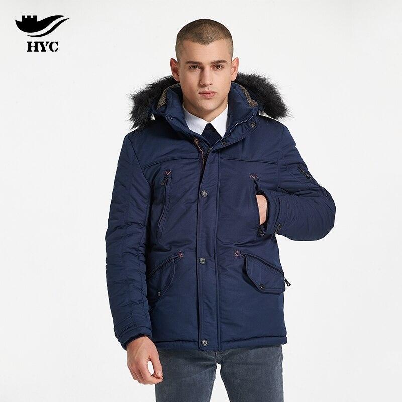 HAI YU CHENG Winter Anorak Mens Windbreaker Trench Tactical Jacket Large Size Men Parka Fur Collar Coat Military Jacket Male