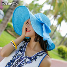 XdanqinX Foldable Womens Straw Hat Summer Large Visor Sun Anti-UV Beach Ribbon Headdress Decorated Shade Female