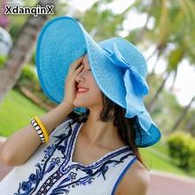 XdanqinX Foldable Women's Straw Hat Summer Large Visor Sun Hat Anti-UV Beach Hat Ribbon Headdress Decorated Shade Female Hat