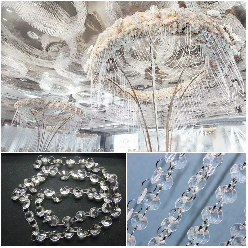 Artificial Crystal Curtain String Beads Acrylic Door Window Room Divider Decor X