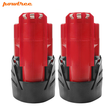 Powtree For Milwaukee 12V 2000mAh M12 Red Power tool Lithium Battery Replacement 48-11-2420 48-11-2401 M12 C12 BX C12 B