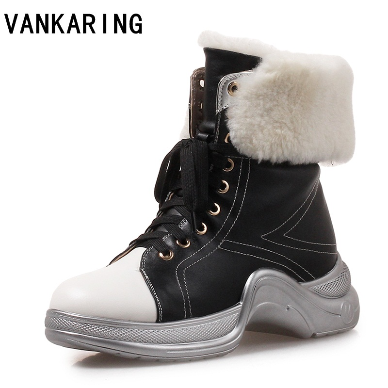 VANKARING Russia style women boots lace up solid casual ankle boots booties warm leather fur women shoes winter snow boots women stylish women s snow wash slimming rolled up solid color shorts