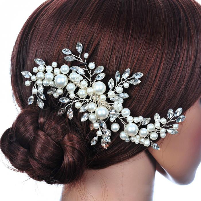 HTB19_DDJpXXXXXZXVXXq6xXFXXXA Romantic Flower Bouquet Rhinestone Crystal Pearl Hair Jewelry For Wedding/Prom/Party