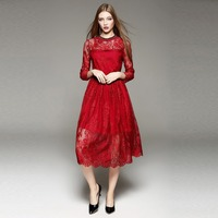 free ship red full lace rhinestone collar Victorian dress/Marie long dress