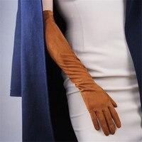 Замшевые длинные женские перчатки перчатки  1