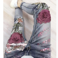 Europe Style Jeans Women Slimming Boyfriend Trousers Slim Rose Embroidery Gold Fashion Sequins Spring and Autumn Denim Pants