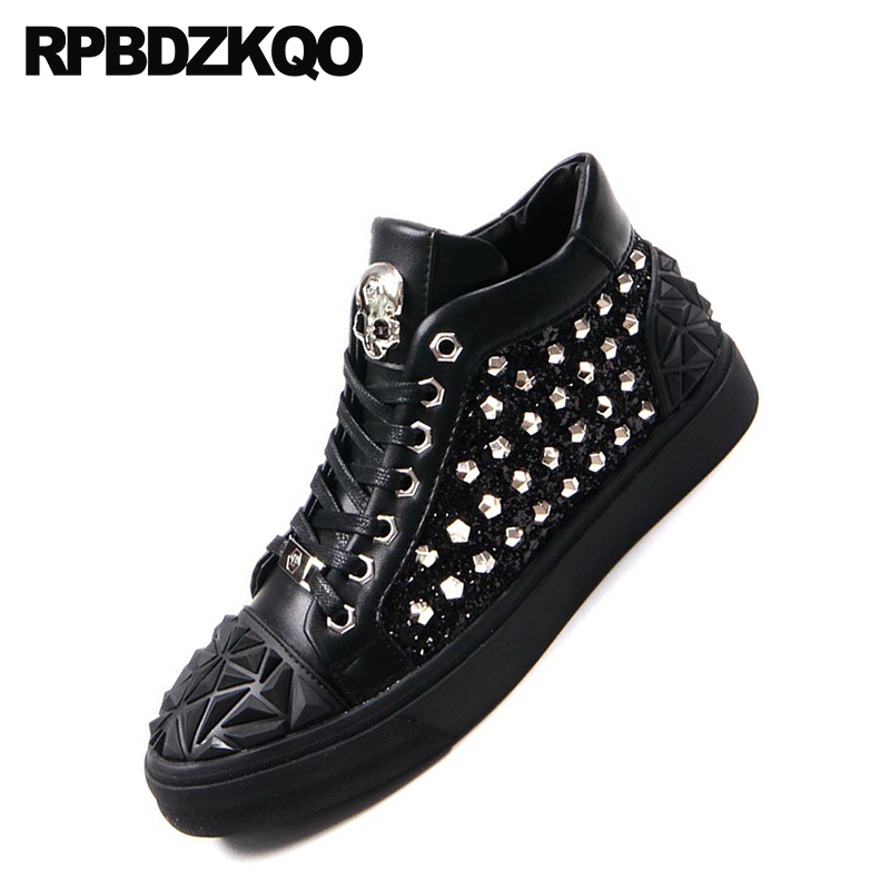 Elevator Trainers High Top Black Hip Hop Stud Men Shoes Luxury Brand Skate  Rivet Sequin Skull Lace Up Metal Tip Sneakers Glitter-in Men s Casual Shoes  from ... 89d3b3bfe6f3