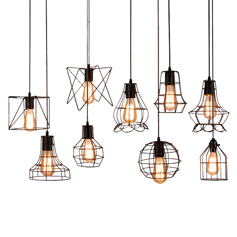 Loft Vintage Industrial Retro Pendant Lamp Edison Light E27 Holder Iron Restaurant Bar Counter Attic Bookstore Cage Lamp black iron bird cage big size lampshade pendant light e27 ac110v 220v industrial edison pendant lamp retro loft lighting