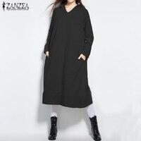 2018 Autumn ZANZEA Women Hoodies Sweatshirts Casual Loose Hooded Dress Long Sleeve Pullover Oversized Outerwear Plus