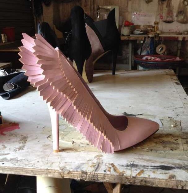 Rose Pointu Printemps Pompes Mode Adaptées Stable Partie Automne Talons Talon Ange As Bout Pictures Chaussures Mince Ailes Haute rqwAF0r