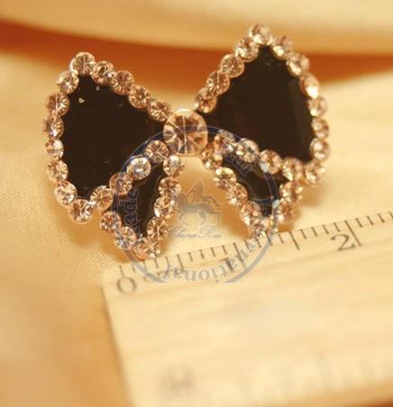 Stud Earrings ear rings Fashion for women Girls lady bowknot black cystal rhinestone desgin CN post