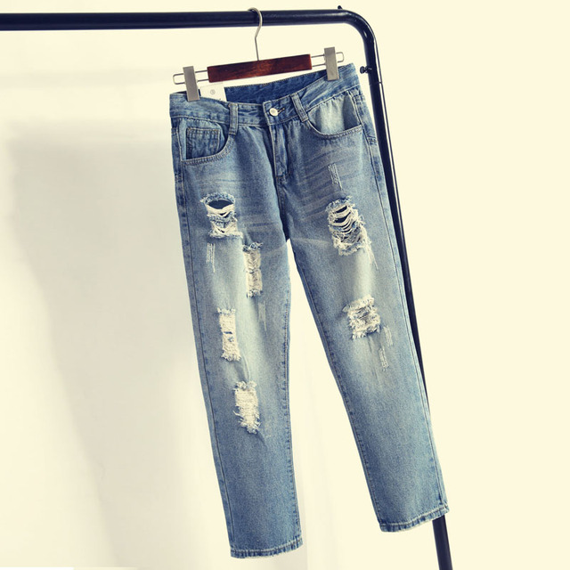 New 2016 Fashion Spring Autumn Women Beggar Jeans Ripped Holes Harem Pants Jeans Loose vintage boyfriends jeans for women