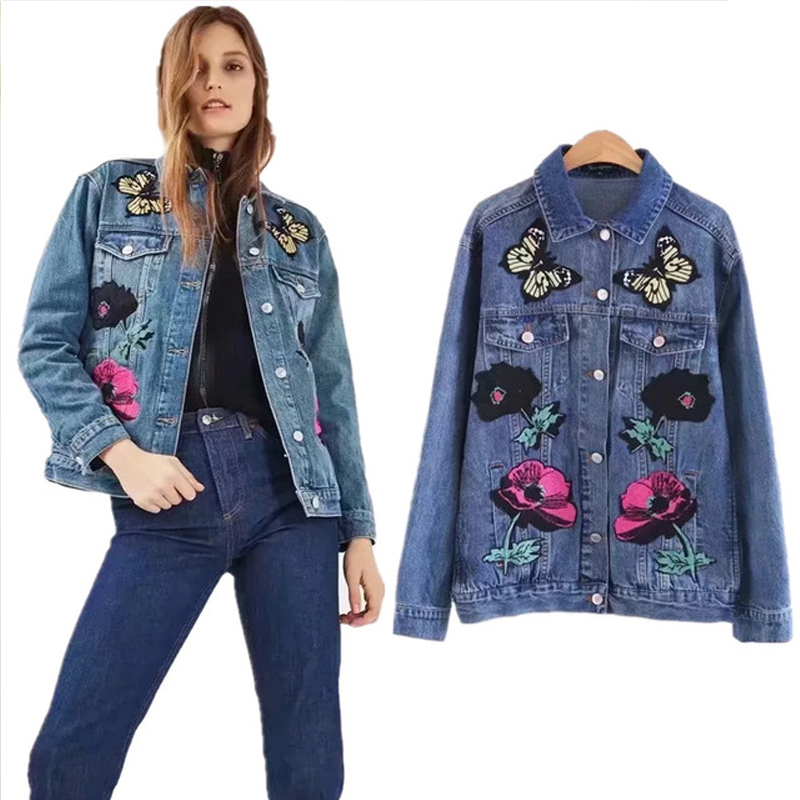 COZARII 2018 jacket casaco feminino england style denim embroidery butterfly floral jackets women bomber jacket plus size
