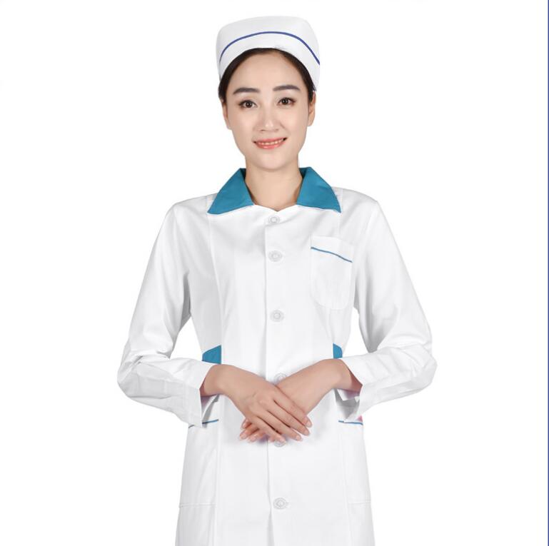 Nurses Wear Long Sleeved Autumn Winter Pink Beauty Salon Custom Pharmacy Clinic White Coat Hospital Work Clothes Doctor Dressing