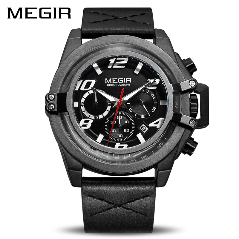 Megir Watches Men Luxury Brand Leather Strap Black Military Watches Men Luxury Waterproof Male Clock Deportivo Relogio Masculino