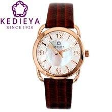Kedieya женские часы розовое золото стали чехол перламутровый циферблат коричнево красный телячьей кожи водонепроницаемый кварцевые часы