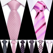 Pink Silk Men Tie 7.5cm Plaid Paisley Necktie for Navy Blue Neck ties Classic Wear Business Wedding Party Gravatas