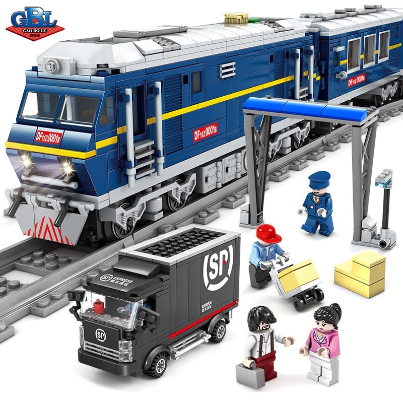GBL City DIY MOC Power Driven Diesel Train Track Rail Building Blocks Sets Kits Bricks Kids Classic Model Toys Compatible Legoe цена