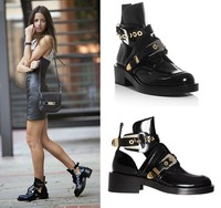 2017 New arrival Cutout buckle boot black ankle boots brand shoes women motorcycle boots riding gladiator booties flats