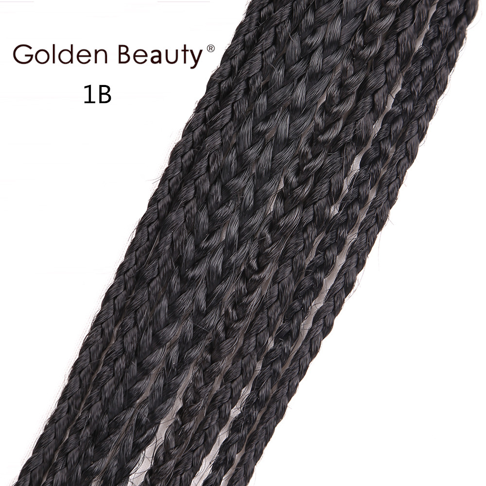 Golden Beauty 22inch Box Braid Wig Lång Svart Syntetisk Hår Paryk - Syntetiskt hår - Foto 4