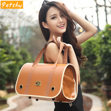 Petshy Leather Portable Pet Backpack Messenger Carrier Bags Dog Cat Outgoing Travel Packets Breathable Small Handbag
