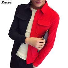 цена 2018 Autumn Hip Hop Jacket Red Black Patchwork Men Bomber Jacket Slim Male Single-breasted Cardigan Fashion Casual Lapel Jacket онлайн в 2017 году