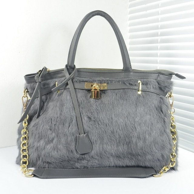 Новое прибытие зима настоящее кролика дизайнер замок сумки женщины цепи сумки мода серый дамы молния плечо/crossbody сумки